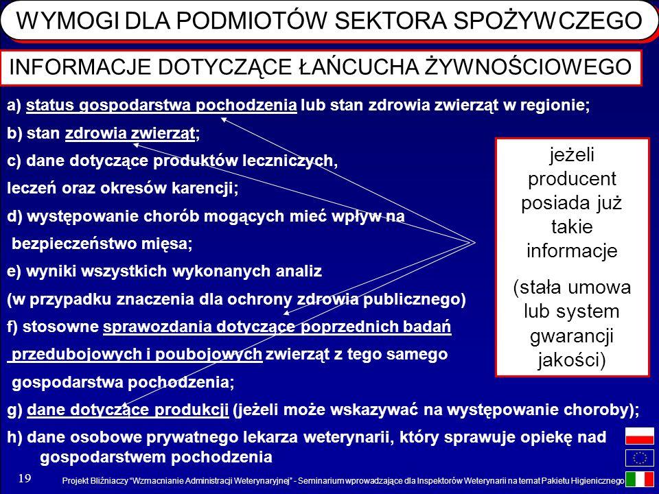 Projekt Bliźniaczy Wzmacnianie Administracji Weterynaryjnej - Seminarium wprowadzające dla Inspektorów Weterynarii na temat Pakietu Higienicznego 19 I