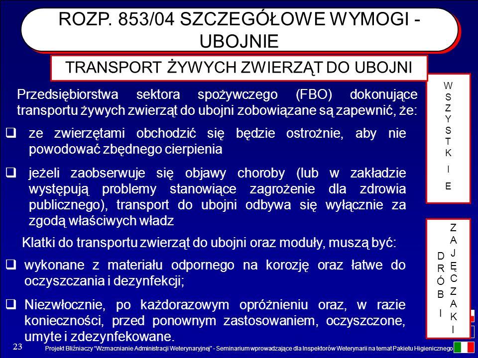 Projekt Bliźniaczy Wzmacnianie Administracji Weterynaryjnej - Seminarium wprowadzające dla Inspektorów Weterynarii na temat Pakietu Higienicznego 23 T