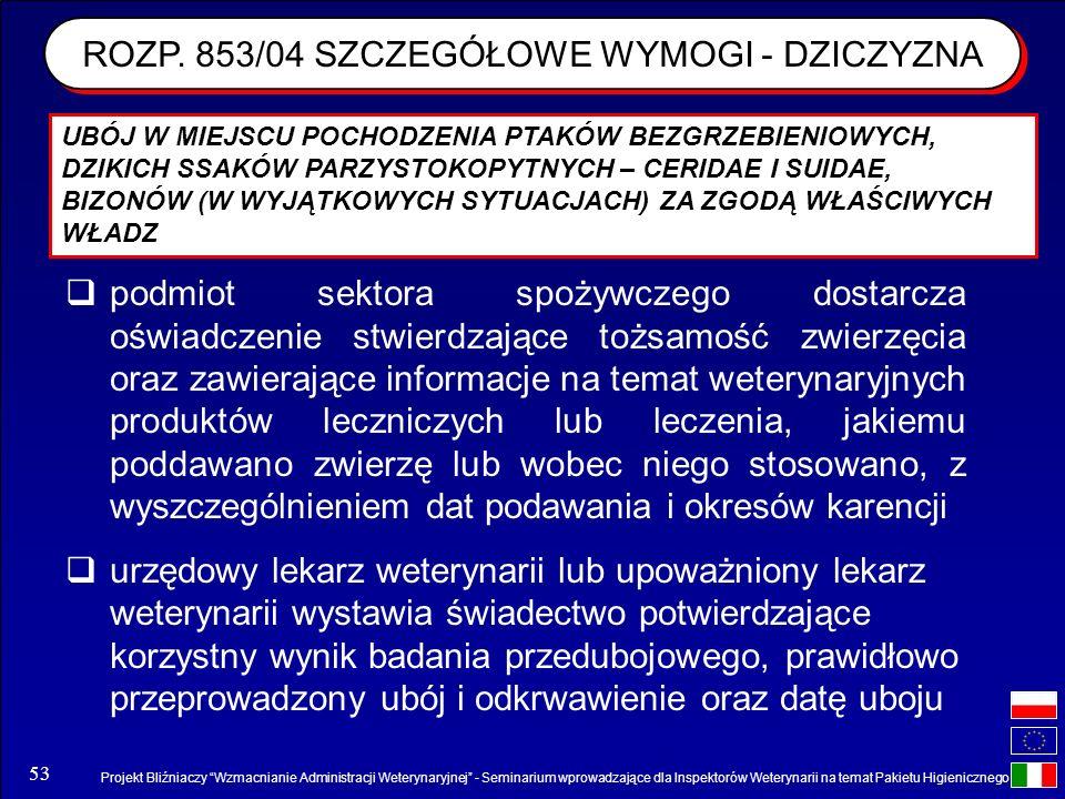 Projekt Bliźniaczy Wzmacnianie Administracji Weterynaryjnej - Seminarium wprowadzające dla Inspektorów Weterynarii na temat Pakietu Higienicznego 53 R