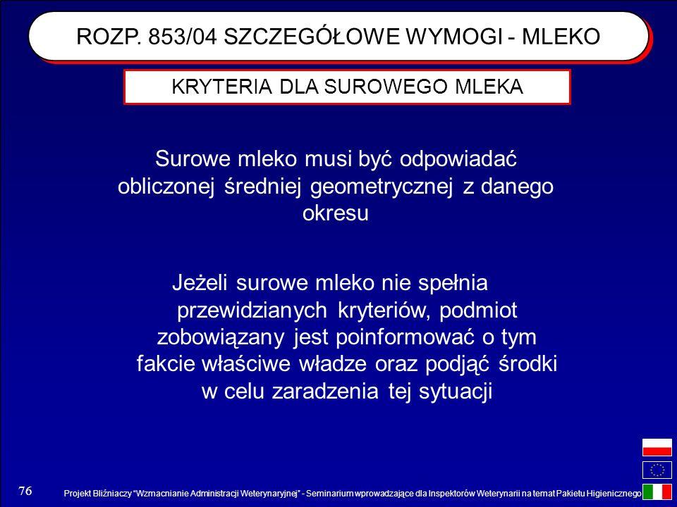 Projekt Bliźniaczy Wzmacnianie Administracji Weterynaryjnej - Seminarium wprowadzające dla Inspektorów Weterynarii na temat Pakietu Higienicznego 76 J