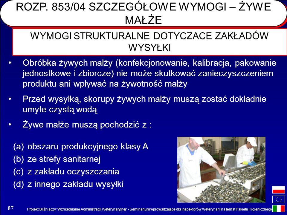 Projekt Bliźniaczy Wzmacnianie Administracji Weterynaryjnej - Seminarium wprowadzające dla Inspektorów Weterynarii na temat Pakietu Higienicznego 87 W