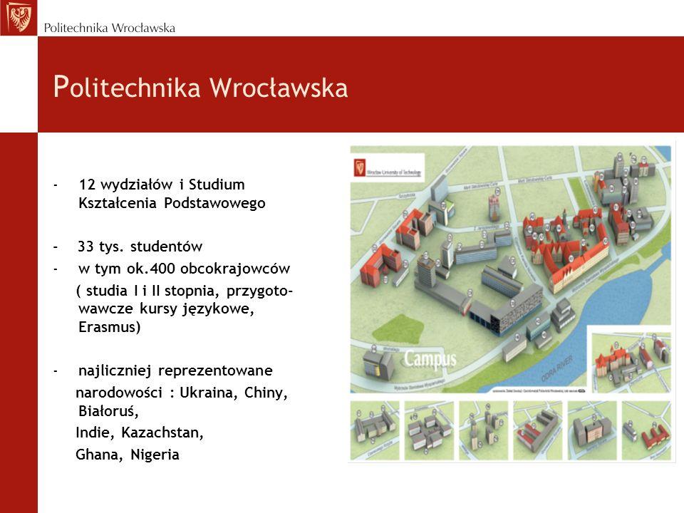 P olitechnika Wrocławska -12 wydziałów i Studium Kształcenia Podstawowego - 33 tys.