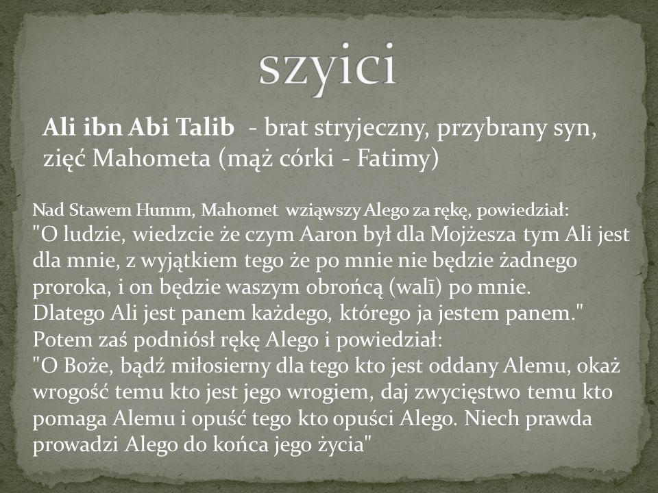 Nad Stawem Humm, Mahomet wziąwszy Alego za rękę, powiedział: O ludzie, wiedzcie że czym Aaron był dla Mojżesza tym Ali jest dla mnie, z wyjątkiem tego że po mnie nie będzie żadnego proroka, i on będzie waszym obrońcą (walī) po mnie.