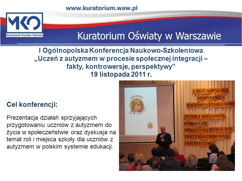I Ogólnopolska Konferencja Naukowo-Szkoleniowa Uczeń z autyzmem w procesie społecznej integracji – fakty, kontrowersje, perspektywy 19 listopada 2011