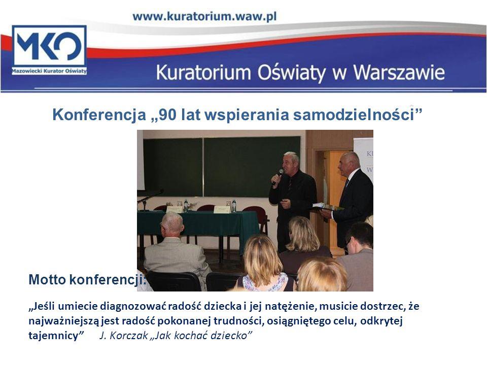 Konferencja 90 lat wspierania samodzielności 29 maja 2012 r. Motto konferencji: Jeśli umiecie diagnozować radość dziecka i jej natężenie, musicie dost