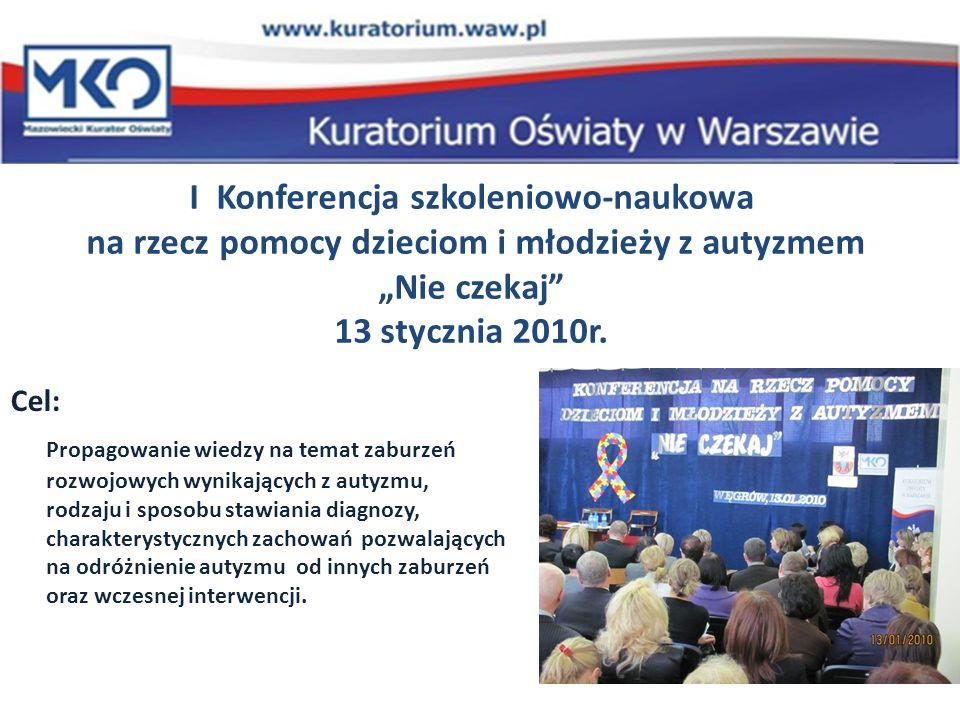 I Konferencja szkoleniowo-naukowa na rzecz pomocy dzieciom i młodzieży z autyzmem Nie czekaj 13 stycznia 2010r.
