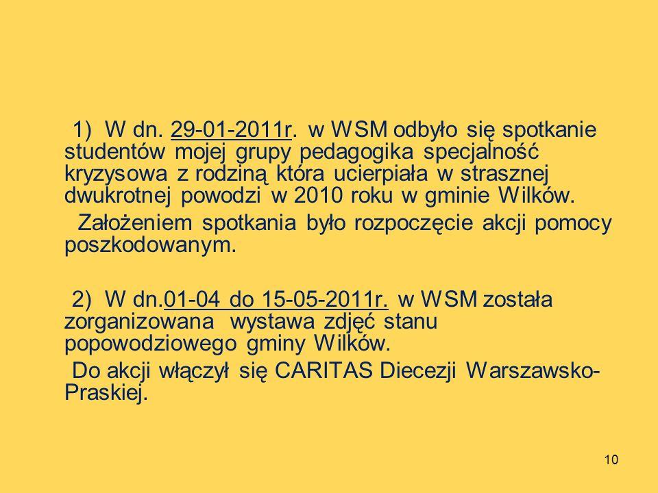 1) W dn. 29-01-2011r. w WSM odbyło się spotkanie studentów mojej grupy pedagogika specjalność kryzysowa z rodziną która ucierpiała w strasznej dwukrot