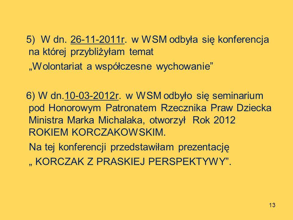 5) W dn. 26-11-2011r. w WSM odbyła się konferencja na której przybliżyłam temat Wolontariat a współczesne wychowanie 6) W dn.10-03-2012r. w WSM odbyło