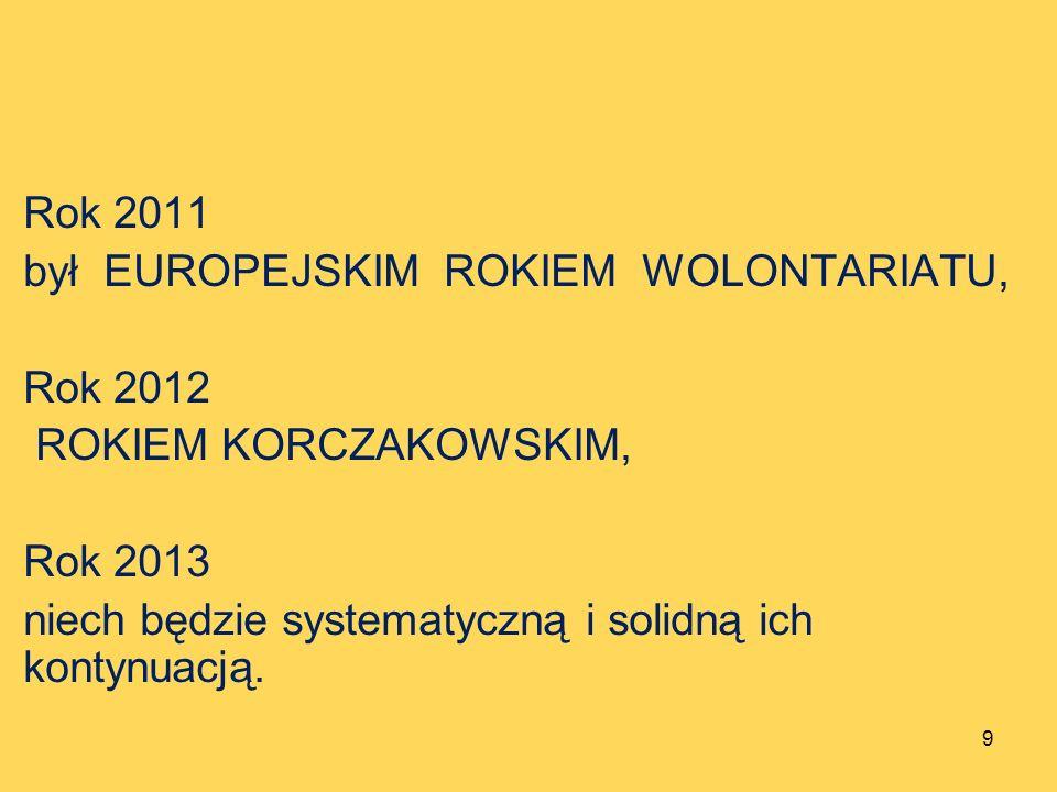 Rok 2011 był EUROPEJSKIM ROKIEM WOLONTARIATU, Rok 2012 ROKIEM KORCZAKOWSKIM, Rok 2013 niech będzie systematyczną i solidną ich kontynuacją. 9