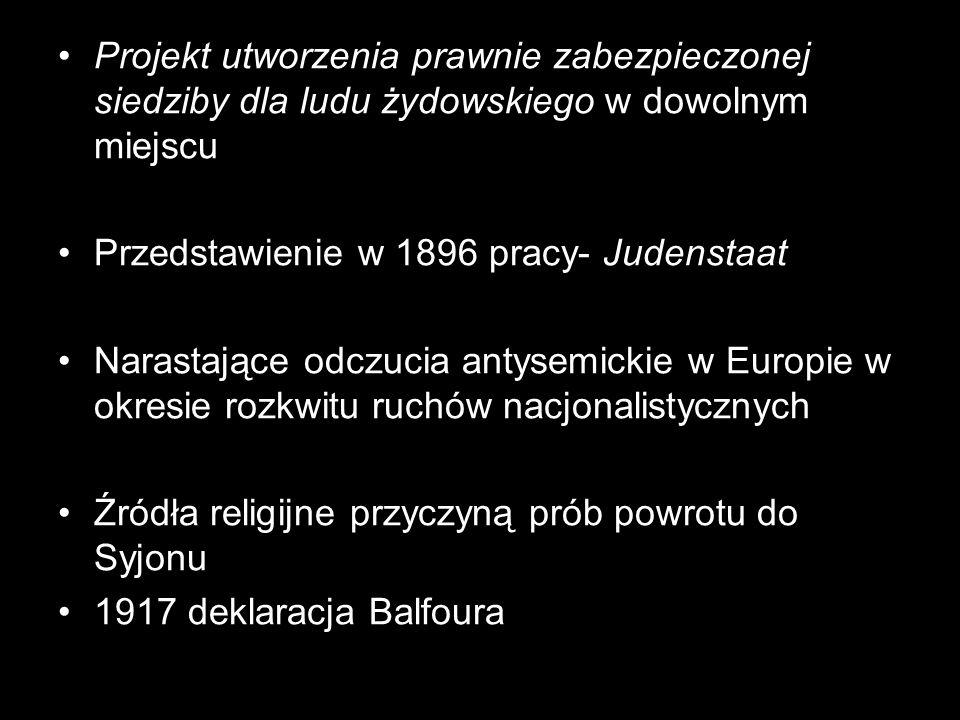 Projekt utworzenia prawnie zabezpieczonej siedziby dla ludu żydowskiego w dowolnym miejscu Przedstawienie w 1896 pracy- Judenstaat Narastające odczuci
