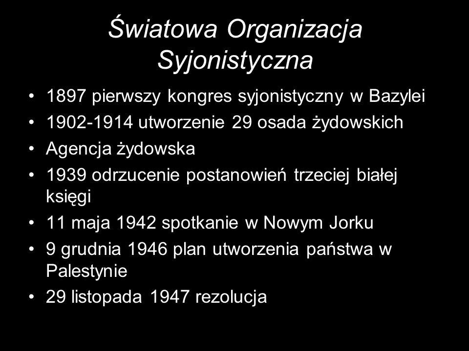Światowa Organizacja Syjonistyczna 1897 pierwszy kongres syjonistyczny w Bazylei 1902-1914 utworzenie 29 osada żydowskich Agencja żydowska 1939 odrzuc