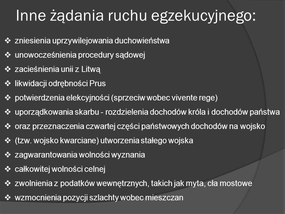Inne żądania ruchu egzekucyjnego: zniesienia uprzywilejowania duchowieństwa unowocześnienia procedury sądowej zacieśnienia unii z Litwą likwidacji odr