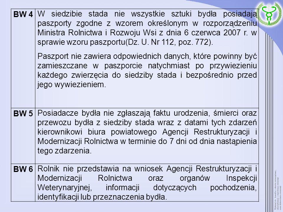 BW 4 W siedzibie stada nie wszystkie sztuki bydła posiadają paszporty zgodne z wzorem określonym w rozporządzeniu Ministra Rolnictwa i Rozwoju Wsi z d