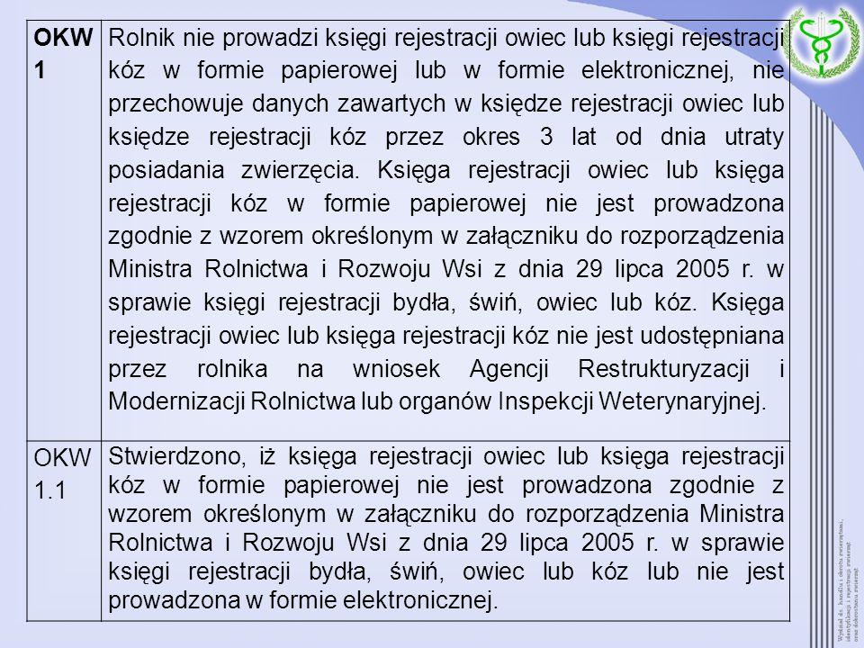OKW 1 Rolnik nie prowadzi księgi rejestracji owiec lub księgi rejestracji kóz w formie papierowej lub w formie elektronicznej, nie przechowuje danych