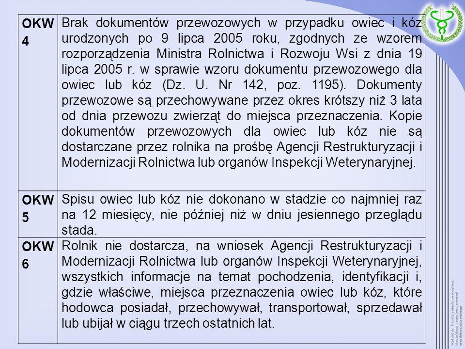 OKW 4 Brak dokumentów przewozowych w przypadku owiec i kóz urodzonych po 9 lipca 2005 roku, zgodnych ze wzorem rozporządzenia Ministra Rolnictwa i Roz