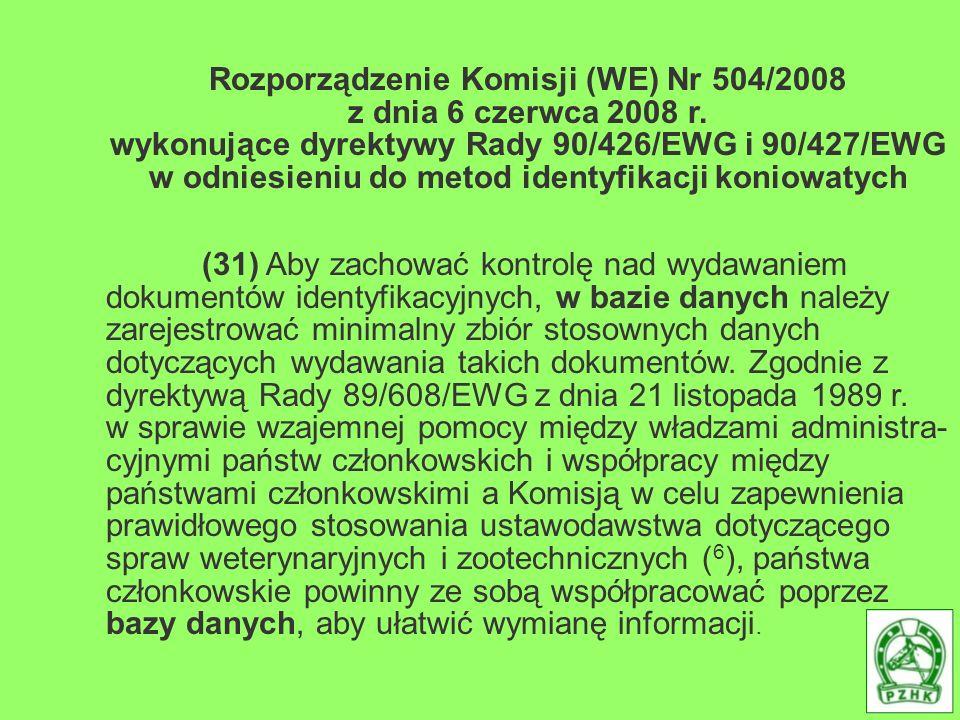 Rozporządzenie Komisji (WE) Nr 504/2008 z dnia 6 czerwca 2008 r. wykonujące dyrektywy Rady 90/426/EWG i 90/427/EWG w odniesieniu do metod identyfikacj