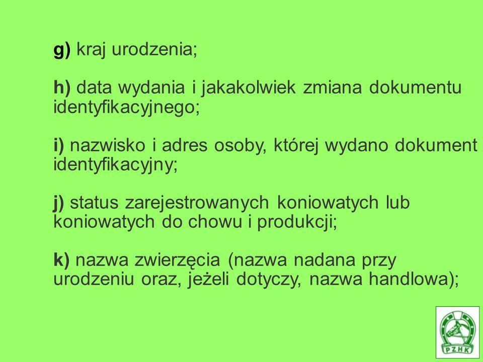 g) kraj urodzenia; h) data wydania i jakakolwiek zmiana dokumentu identyfikacyjnego; i) nazwisko i adres osoby, której wydano dokument identyfikacyjny