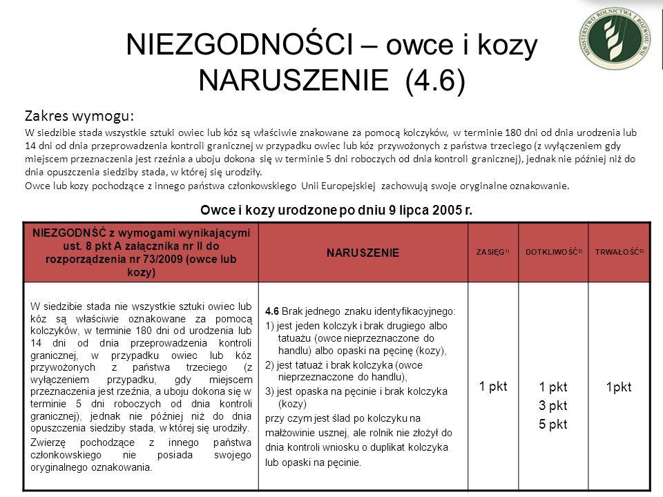 NIEZGODNOŚCI – owce i kozy NARUSZENIE (4.6) Owce i kozy urodzone po dniu 9 lipca 2005 r. NIEZGODNŚĆ z wymogami wynikającymi ust. 8 pkt A załącznika nr