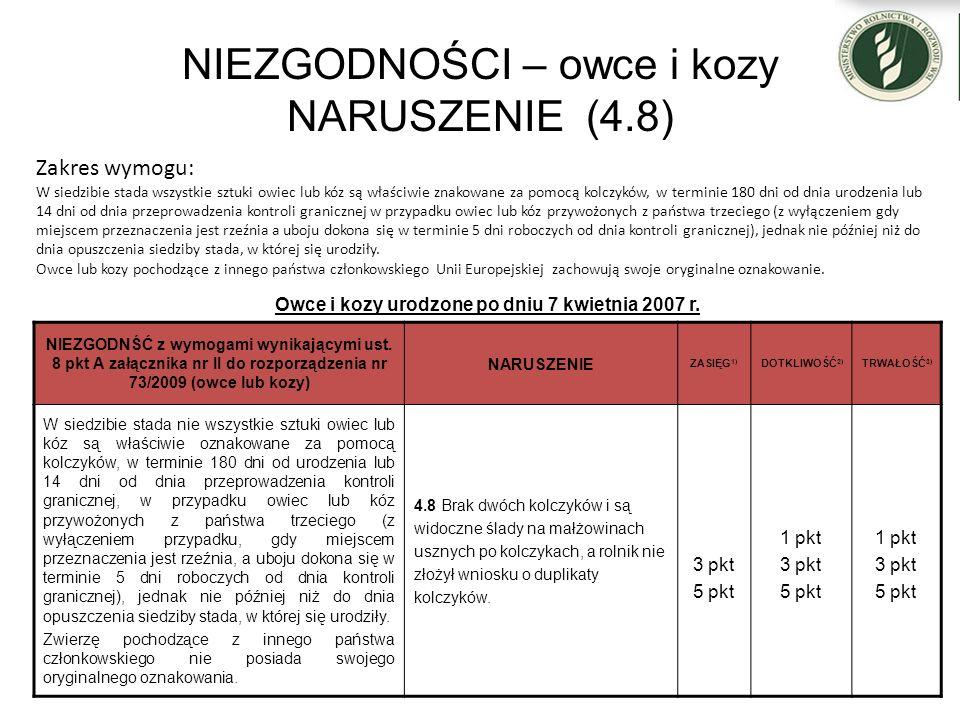 NIEZGODNOŚCI – owce i kozy NARUSZENIE (4.8) Owce i kozy urodzone po dniu 7 kwietnia 2007 r. NIEZGODNŚĆ z wymogami wynikającymi ust. 8 pkt A załącznika