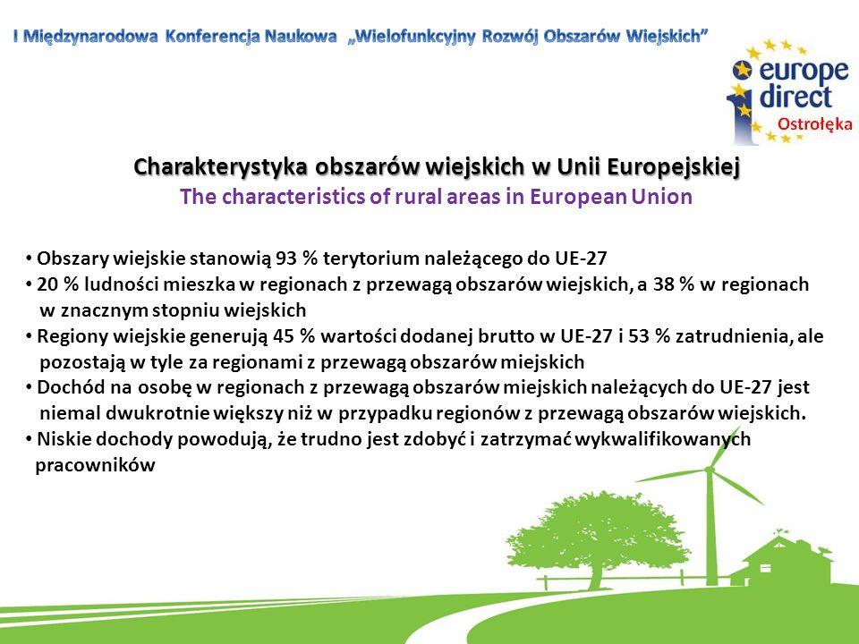 Charakterystyka obszarów wiejskich w Unii Europejskiej The characteristics of rural areas in European Union Obszary wiejskie stanowią 93 % terytorium