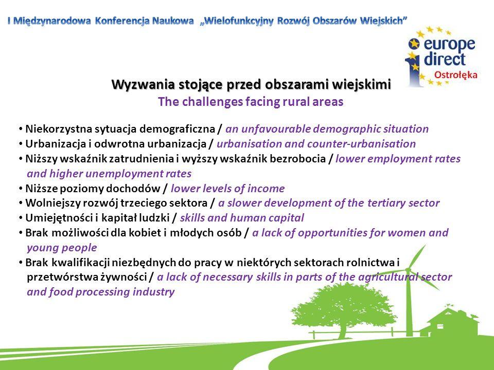 Wyzwania stojące przed obszarami wiejskimi The challenges facing rural areas Niekorzystna sytuacja demograficzna / an unfavourable demographic situati