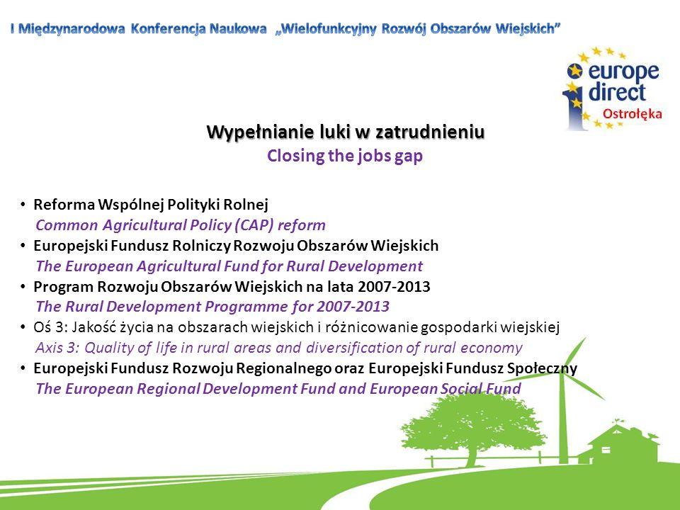 Wypełnianie luki w zatrudnieniu Closing the jobs gap Reforma Wspólnej Polityki Rolnej Common Agricultural Policy (CAP) reform Europejski Fundusz Rolni