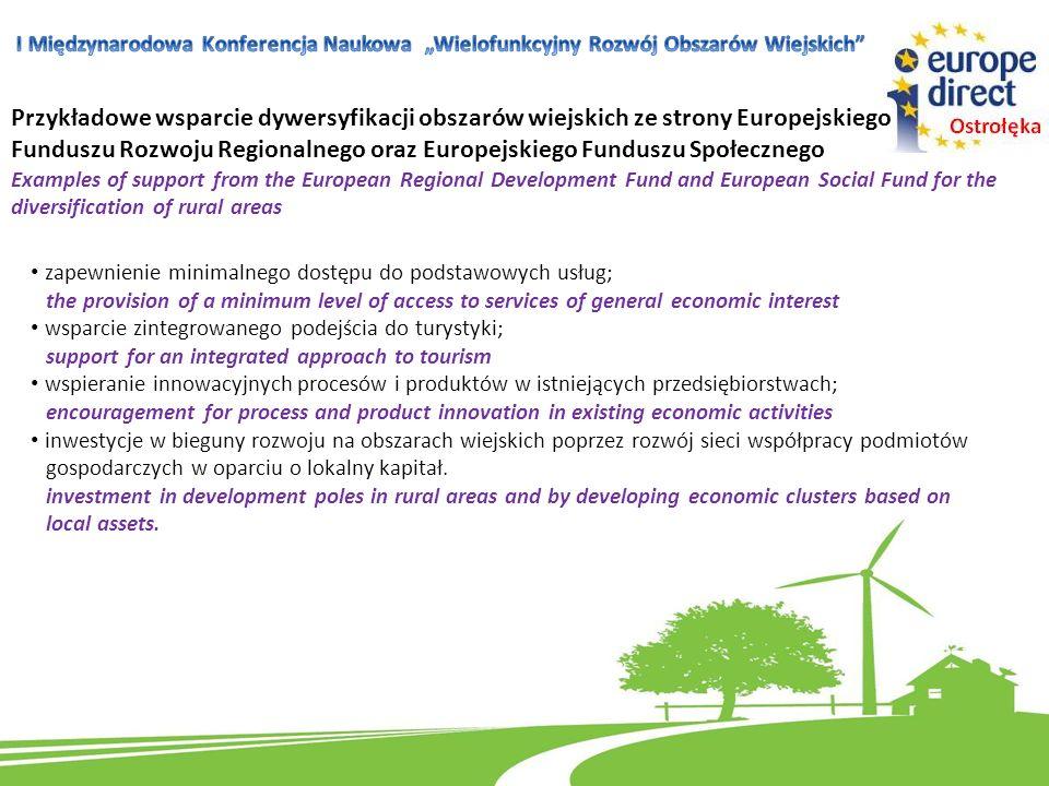 Przykładowe wsparcie dywersyfikacji obszarów wiejskich ze strony Europejskiego Funduszu Rozwoju Regionalnego oraz Europejskiego Funduszu Społecznego E