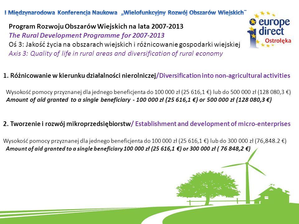 1. Różnicowanie w kierunku działalności nierolniczej/Diversification into non-agricultural activities Wysokość pomocy przyznanej dla jednego beneficje