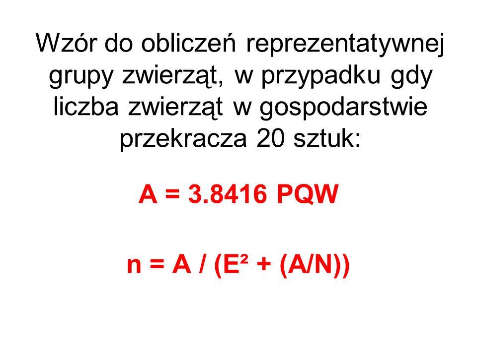 Wzór do obliczeń reprezentatywnej grupy zwierząt, w przypadku gdy liczba zwierząt w gospodarstwie przekracza 20 sztuk: A = 3.8416 PQW n = A / (E² + (A