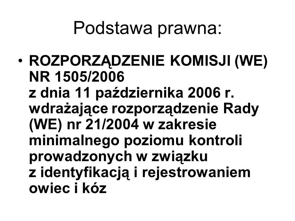 Podstawa prawna: ROZPORZĄDZENIE KOMISJI (WE) NR 1505/2006 z dnia 11 października 2006 r. wdrażające rozporządzenie Rady (WE) nr 21/2004 w zakresie min