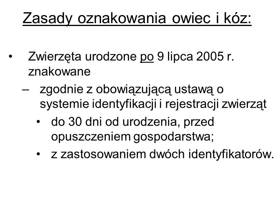 Zasady oznakowania owiec i kóz: Zwierzęta urodzone po 9 lipca 2005 r. znakowane –zgodnie z obowiązującą ustawą o systemie identyfikacji i rejestracji