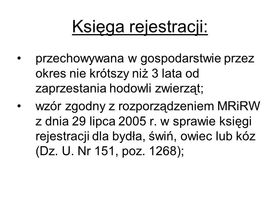 Księga rejestracji: przechowywana w gospodarstwie przez okres nie krótszy niż 3 lata od zaprzestania hodowli zwierząt; wzór zgodny z rozporządzeniem M