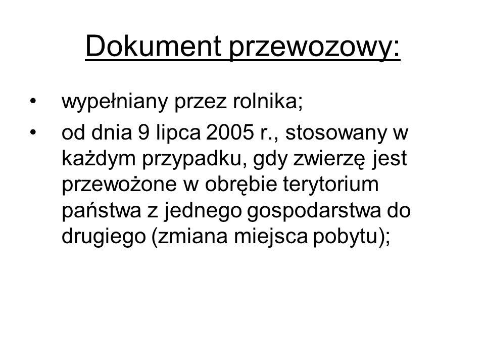 Dokument przewozowy: wypełniany przez rolnika; od dnia 9 lipca 2005 r., stosowany w każdym przypadku, gdy zwierzę jest przewożone w obrębie terytorium