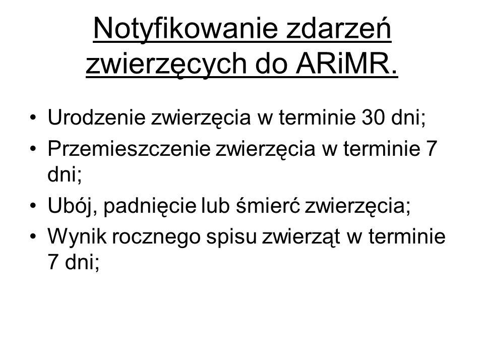 Notyfikowanie zdarzeń zwierzęcych do ARiMR. Urodzenie zwierzęcia w terminie 30 dni; Przemieszczenie zwierzęcia w terminie 7 dni; Ubój, padnięcie lub ś