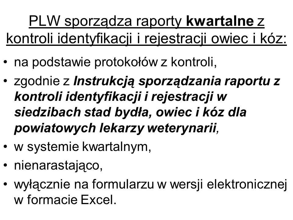 PLW sporządza raporty kwartalne z kontroli identyfikacji i rejestracji owiec i kóz: na podstawie protokołów z kontroli, zgodnie z Instrukcją sporządza