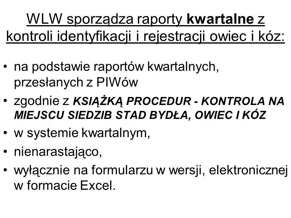 WLW sporządza raporty kwartalne z kontroli identyfikacji i rejestracji owiec i kóz: na podstawie raportów kwartalnych, przesłanych z PIWów zgodnie z K
