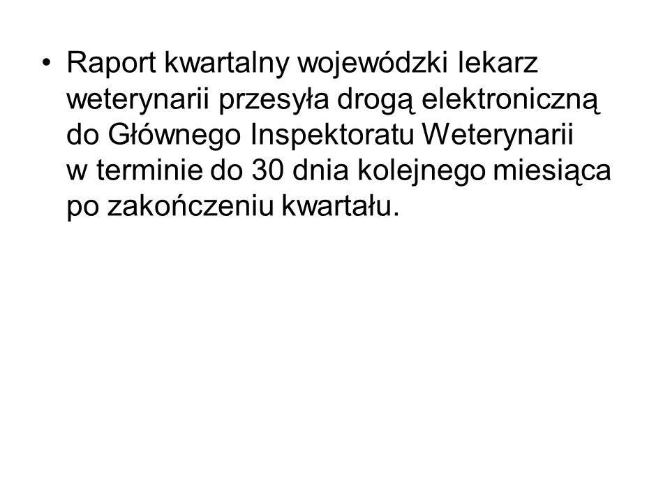 Raport kwartalny wojewódzki lekarz weterynarii przesyła drogą elektroniczną do Głównego Inspektoratu Weterynarii w terminie do 30 dnia kolejnego miesi