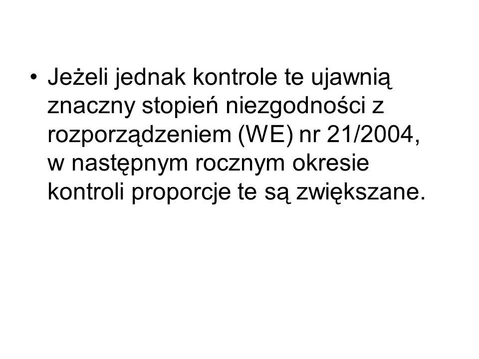 Jeżeli jednak kontrole te ujawnią znaczny stopień niezgodności z rozporządzeniem (WE) nr 21/2004, w następnym rocznym okresie kontroli proporcje te są