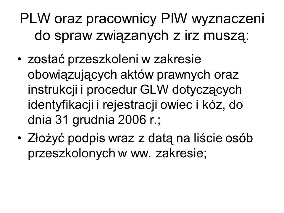 PLW oraz pracownicy PIW wyznaczeni do spraw związanych z irz muszą: zostać przeszkoleni w zakresie obowiązujących aktów prawnych oraz instrukcji i pro