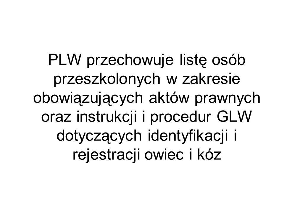 PLW przechowuje listę osób przeszkolonych w zakresie obowiązujących aktów prawnych oraz instrukcji i procedur GLW dotyczących identyfikacji i rejestra