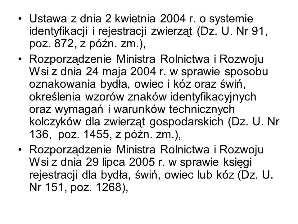 Ustawa z dnia 2 kwietnia 2004 r. o systemie identyfikacji i rejestracji zwierząt (Dz. U. Nr 91, poz. 872, z późn. zm.), Rozporządzenie Ministra Rolnic