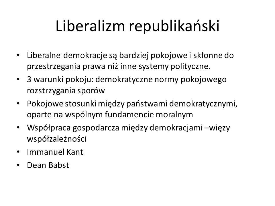 Liberalizm republikański Liberalne demokracje są bardziej pokojowe i skłonne do przestrzegania prawa niż inne systemy polityczne. 3 warunki pokoju: de
