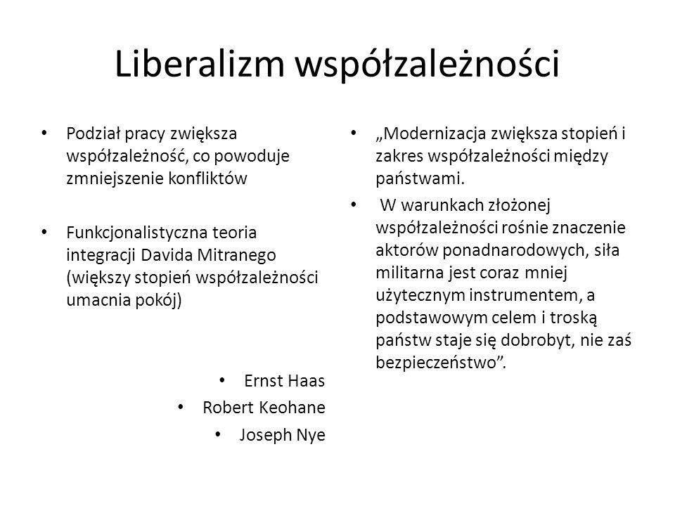 Liberalizm współzależności Podział pracy zwiększa współzależność, co powoduje zmniejszenie konfliktów Funkcjonalistyczna teoria integracji Davida Mitr
