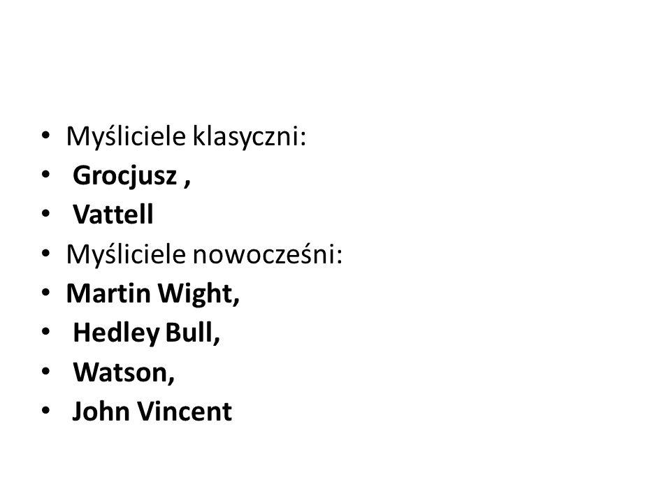 Myśliciele klasyczni: Grocjusz, Vattell Myśliciele nowocześni: Martin Wight, Hedley Bull, Watson, John Vincent