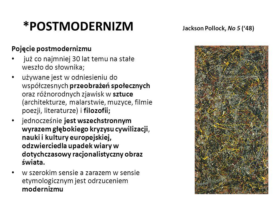 *POSTMODERNIZM Jackson Pollock, No 5 (48) Pojęcie postmodernizmu już co najmniej 30 lat temu na stałe weszło do słownika; używane jest w odniesieniu d