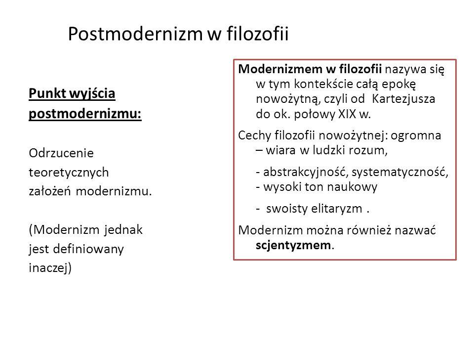 Postmodernizm w filozofii Punkt wyjścia postmodernizmu: Odrzucenie teoretycznych założeń modernizmu. (Modernizm jednak jest definiowany inaczej) Moder