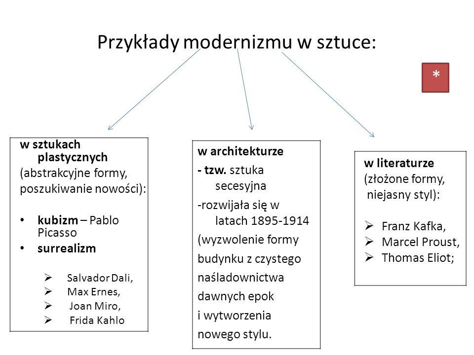 Przykłady modernizmu w sztuce: w sztukach plastycznych (abstrakcyjne formy, poszukiwanie nowości): kubizm – Pablo Picasso surrealizm Salvador Dali, Ma