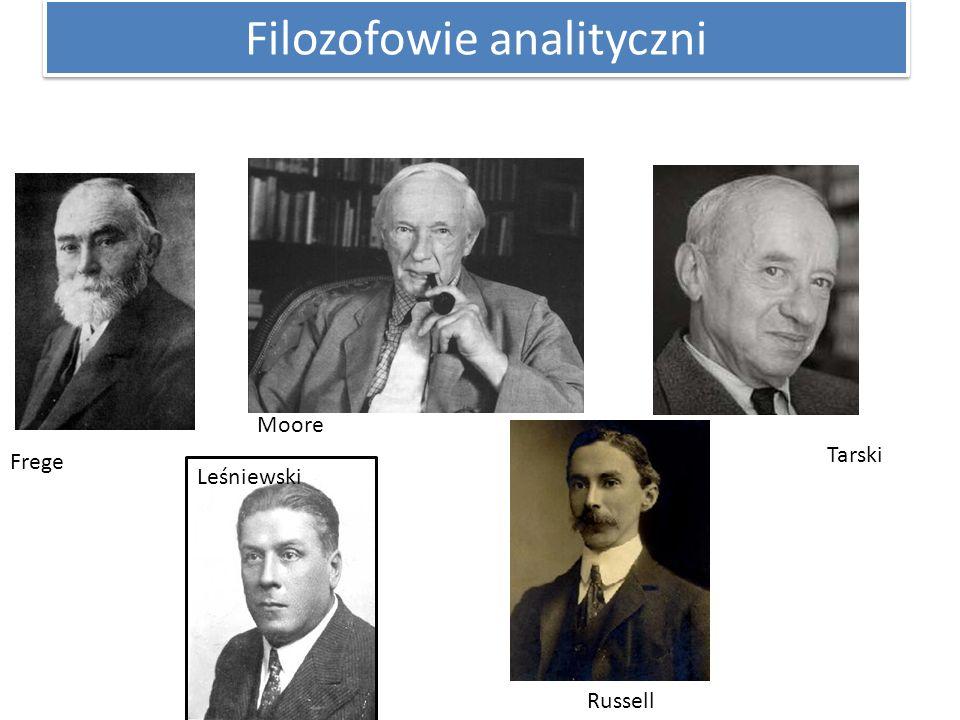 Filozofowie analityczni Frege Moore Russell Leśniewski Tarski
