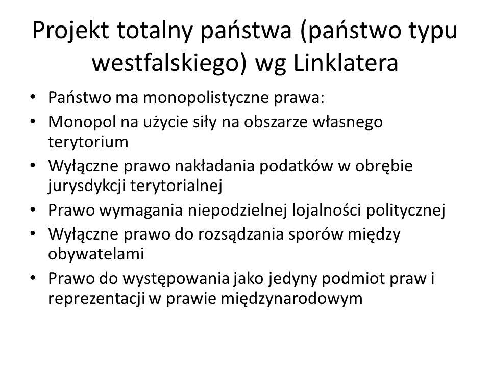 Projekt totalny państwa (państwo typu westfalskiego) wg Linklatera Państwo ma monopolistyczne prawa: Monopol na użycie siły na obszarze własnego teryt