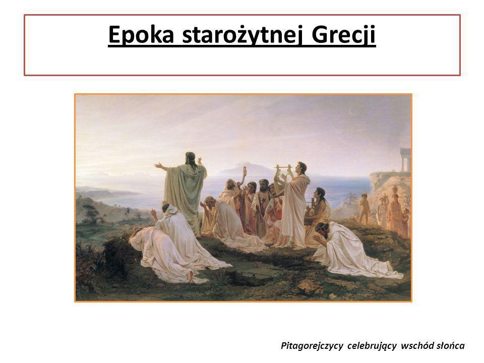 Epoka starożytnej Grecji Pitagorejczycy celebrujący wschód słońca
